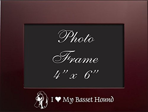 4x6 Brushed Metal Picture Frame-I love my Basset Hound-Burgundy ()