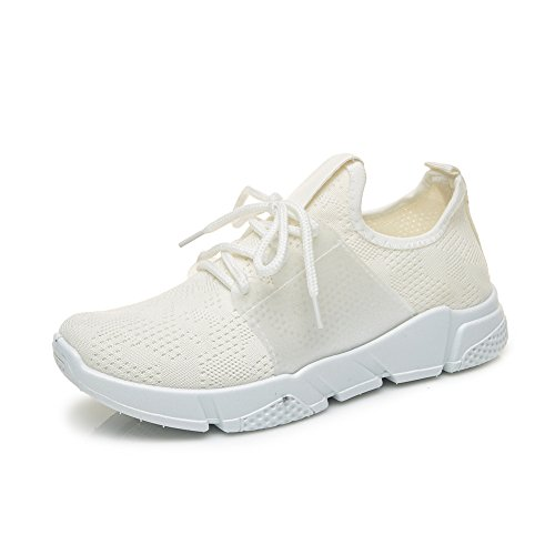 DRKA Women Athletic Mesh Walking Shoes, Lightweight and Breathable Slip-on Sneakers White916