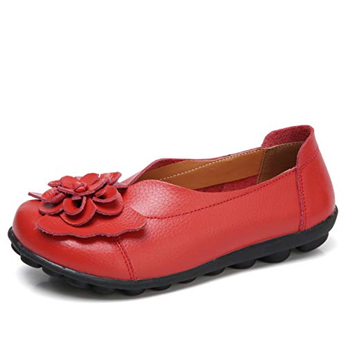 (ANYUETE Women's Slip on Loafers Leather Flats Comfortable Walking Shoes Red Size 7.5)