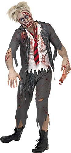 Smiffy's Men's High School Horror Zombie Schoolboy Costume, Jacket, Attached Shirt, Tie and pants, High School Horror, Halloween, Size S, 32928