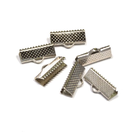 144pcs 16mm or 5/8 inch Ribbon Clamps with Loop -- Silver