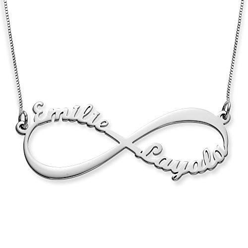 Couples Infinity Pendant Name Necklace 10k Solid White Gold Custom Made Any - Jewelry Jewelry White Gold
