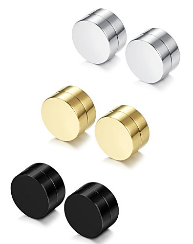 FIBO STEEL 3 Pairs Stainless Steel Round Magnetic Earrings for Men Women No Piercing Clip On Stud Earrings,12MM