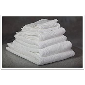 Hotel Oxford Viceroy Bath Towels 27x54 100% Cotton Terry w/ Dobby Checkered Border & Dobby Twill Hemmed White 17 Lb/dz