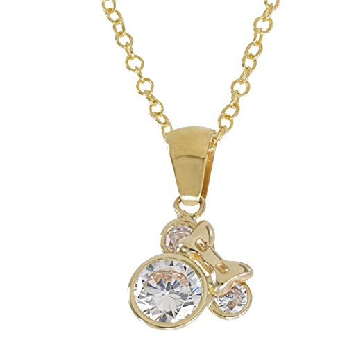 Disney Women's and Girls Jewelry Minnie Mouse 14k Yellow Gold Pendant Necklace,18