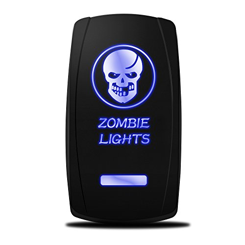MicTuning MIC-LSK1 Zombie Lights Symbol Rocker Switch On-Off LED Light, 20A, 12V, Blue