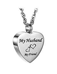 AMIST My Husband My Friend Love Heart Cremation Jewelry Keepsake Memorial Urn Necklace