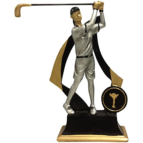 Woman Golfer Statue Award or Small Trophy with Seperate Name Plate to Write On, 6-Inch, (Female Golfing Award)