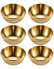 Cabilock 6pcs Stainless Steel Sauce Dish Mini Round Seasoning Bowls Sushi Dipping Pinch Bowl Saucers Salad Dressing Plates for Appetizer Side Dish French Fries Ketchup Golden