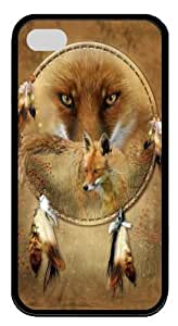 Dreamcatcher Fox TPU Silicone Case Cover for iPhone 4/4S Black
