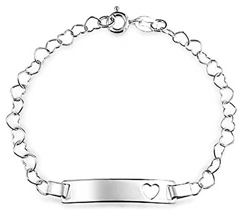 Delicate Cut Out Heart ID Bracelet Engravable Name Plate Bar 925 Silver Sterling Small Wrists 6 Inch