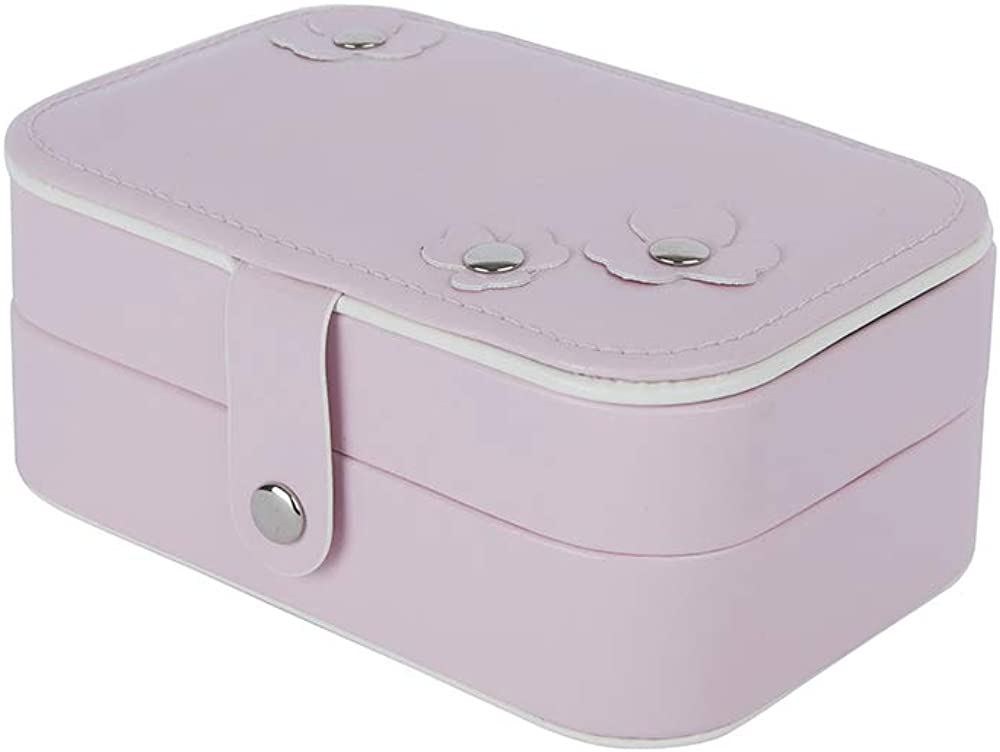 BagTu Flower Small Jewelry Box, Pink Snap Button Jewelry Organizer Display Case, Mini Portable Travel Case with Built-in Mirror