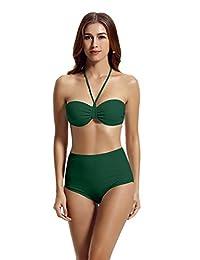 Zeraca Women's High Waisted Push up Bandeau Swimsuit Bikini Sets