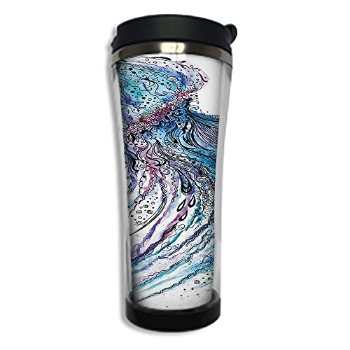 (Travel Coffee Mug 3D Printed Portable Vacuum Cup,Insulated Tea Cup Water Bottle Tumblers for Drinking with Lid 14.2oz(420 ml)by,Jellyfish,Aqua Colors Art Ocean Animal Print Sketch Style Creative Sea M)