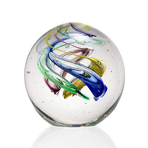 Anecdotal Aardvark Art Glass Rainbow Swirl Sphere Paperweight Glass Ball (Paperweight Glass)
