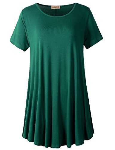 (LARACE Women Short Sleeves Flare Tunic Tops for Leggings Flowy Shirt (L, Deep Green))
