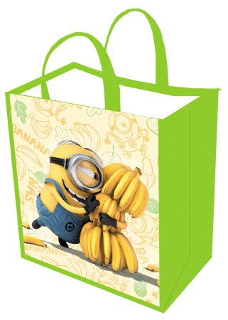 Despicable Me 3! Minions Hugging Bananas Reusable Green Yellow Tote Bag for Kids, Teens, and Adults! Large