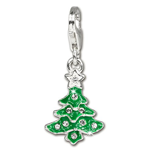SilberDream Charm christmas tree enamel 925 Sterling Silver Pendant Lobster Clasp FC3113 ()