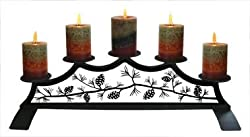 28 Inch Pinecone Fireplace Pillar Candle Holder