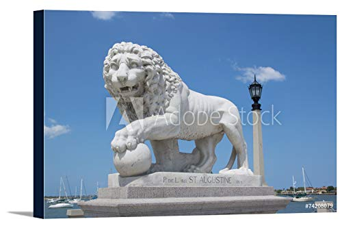 St. Augustine, Florida - Medici Lion Marble Statue - Photography A-92564 (36x24 Gallery Wrapped Stretched Canvas)
