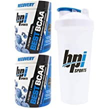 BPI Sports Best BCAA Peptide Linked Branched Chain Amino Energy Powder, 10.58oz, Pack of Two 30 Servings (Blue Raspberry 2 x 30svg) with Official BPI Shaker