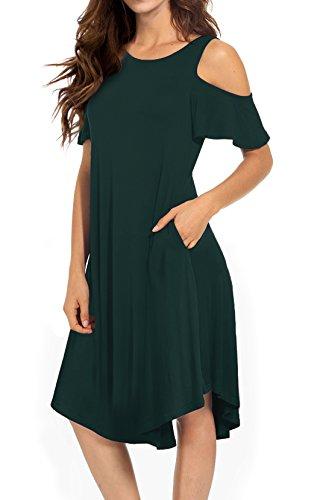 VERABENDI Women's Casual Cold Shoulder Midi Dress Short Sleeve Swing Dress with Pockets Dark Green