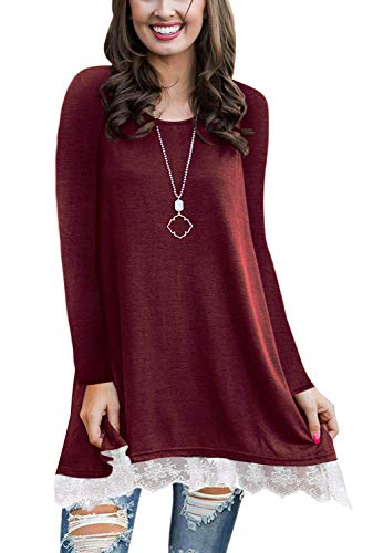WEKILI Women's Tops Long Sleeve Lace Scoop Neck A-line Tunic Blouse Wine Red M/US 8-10 ()