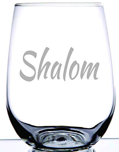 IE Laserware Shalom is permanently etched on stemless wineglass.