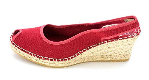 Vidorreta Womens Darla Canvas Peep Toe Casual Platform Sandals, Red, Size 10.5 ()