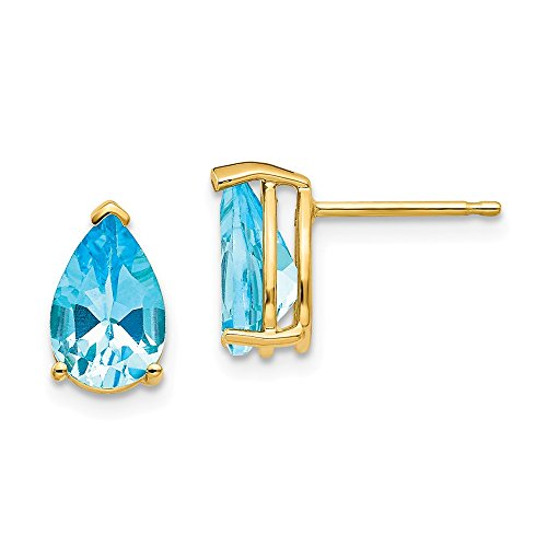 14k Yellow Gold 9x6mm Pear Blue Topaz Post Stud Earrings Gemstone Fine Jewelry Gifts For Women For Her