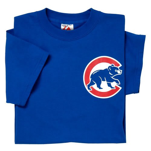 (Chicago Cubs (ADULT 2X) 100% Cotton Crewneck MLB Officially Licensed Majestic Major League Baseball Replica T-Shirt Jersey)