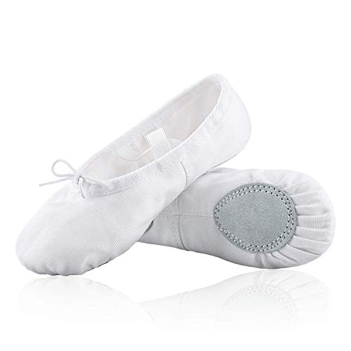 Cascadella Cotton Black / White Ballet Shoes for Girls Women Toddlers and Kids – 100% Cotton Ballet Flats Shoes – Superior Alternative to Canvas and Leather Ballet Dancewear – Split Leather Sole