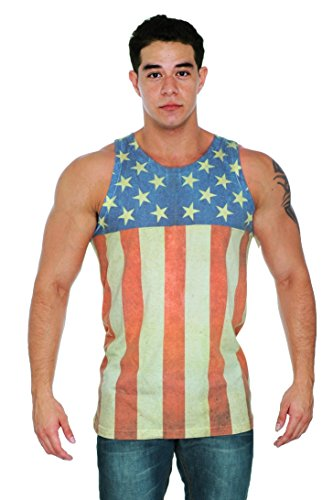 [Men's USA Flag Tank Top Sublimated Stars & Strips Sleeveless Shirt: LARGE] (Confederate Flag Halloween Costume)