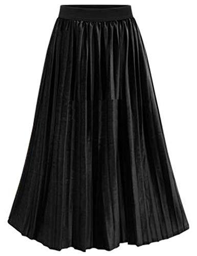 Omoone Women's High Elastic Waist Velvet Velour Maxi Long Pleated Swing Skirt (Black, XL)