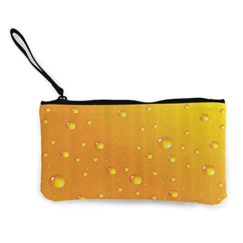 Printed Canvas Purse Abstract,Water Rain Drops Style Bubbles on Vibrant Background Pastel Light Serene Design,Marigold W8.5