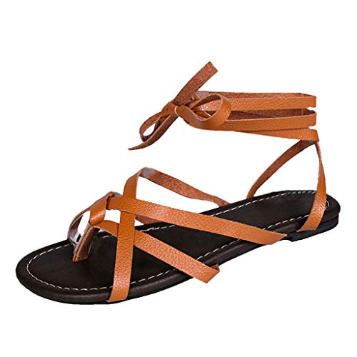 - Gladiator Flat Sandals for Women,SMALLE◕‿◕ Women Summer Shoes Female Flat Sandals Rome Style Cross Tied Sandals Shoes Brown