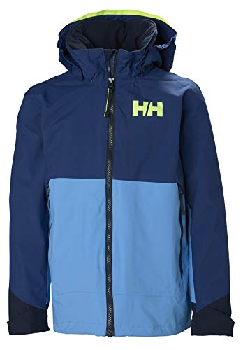 Helly Hansen Juniors Ascent Waterproof Breathable Hooded Rain Jacket, Catalina Blue, Size 10 ()