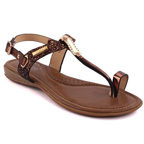 Unze Nuevas mujeres de las señoras 'Fotios' adornó el dedo del pie abierto T-Correa Carnival Flat Summer Sandals Tamaño del zapato 3-8 LYd9SJA