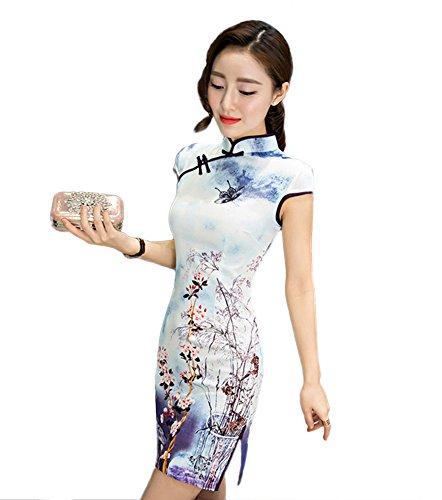 Womens Chinese Silk Cheongsam Dress - 3