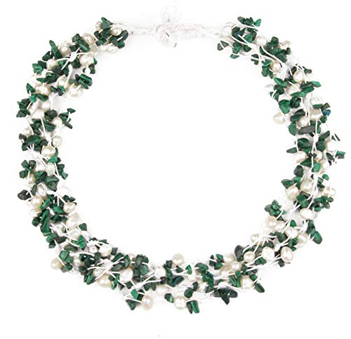 Holly Shimmering - HinsonGayle 'Holly' 4-Strand Handwoven Malachite & White Freshwater Cultured Pearl Necklace-20 in Length