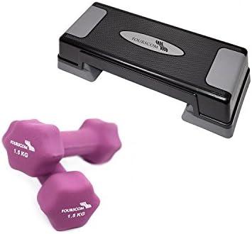 fourscom® Aerobic Set: escalón/stepper y 2 x 0,5 kg de 2kg mancuernas, Sechseckig-Lila-1,5KG+70cmx28cmx12cm