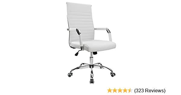 Amazon.com: Furmax Ribbed Office Desk Chair Mid Back Leather Executive  Conference Task Chair Adjustable Swivel Chair With Arms (White): Kitchen U0026  Dining