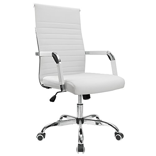 Office Arm Task Chair - Furmax Ribbed Office Desk Chair Mid-Back Leather Executive Conference Task Chair Adjustable Swivel Chair with Arms (White)