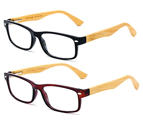 Black Hinge Clear Brown Bamboo Simple Glasses Pack Modern Arms Real amp; Spring Rectangle Newbee Fashion 2 Design Lens with Bamboo qwCTHOO