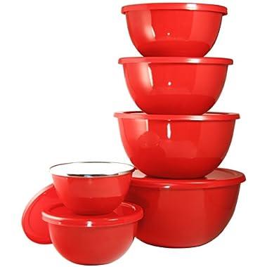 Calypso Basics 6-Piece Bowl Set, Large, Red