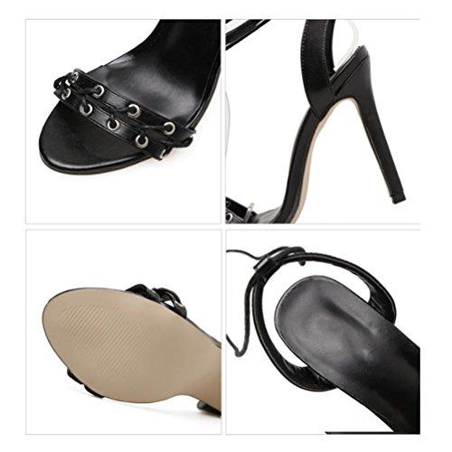 Robe Talons Straps Mot Sandales Talons De black Mariage Banquet Open Cross Ceinture Sandales Toe Un Femmes XIE De Fine Chaussures À OxYgaa