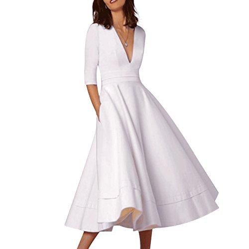 Manches Femmes Cutecc Sexy Élégant Col En V Profond 1/2 Plissé Soirée Solide Robe Longue Swing Blanc