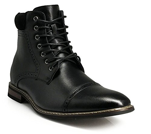 OTW04 Men's Chukka Ankle Dress Boots Captoe For Winter Lace Up Oxfords Boots (13, Black)