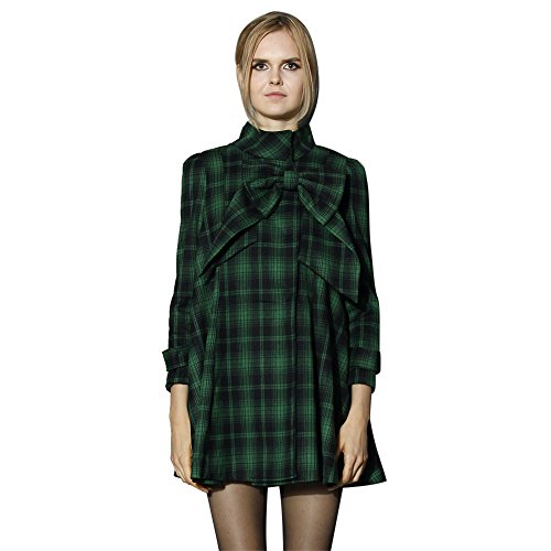 Chicwish Women's Comfy Casual Warm Big Bow Green Tartan Check Dolly Dress (Wool Dolly)