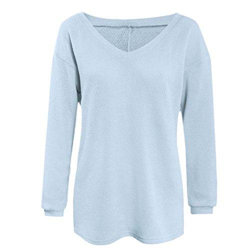 FAMILIZO Las mujeres de manga larga de punto suéter flojo Pullover Puente Tops Prendas de punto Azul